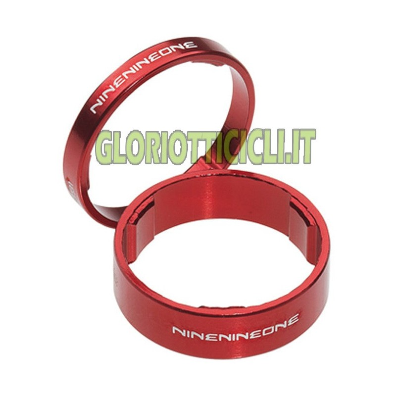 Kit Aluminum spacers FOR HANDLEBAR CYCLE- 1 1/8 red